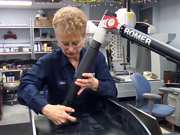 CMM Romer Arm being used to test larger formed parts